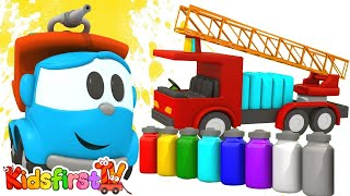 TOW TRUCK Cartoons - Leo's FIRE TRUCK - PAINTING Games & Construction Puzzles!