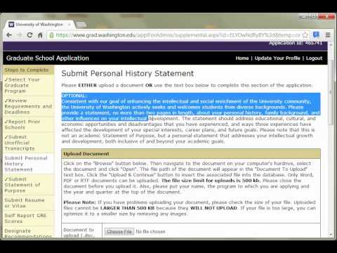 UW College Of Education Online Application Demo   Part 5   Statements And Resume