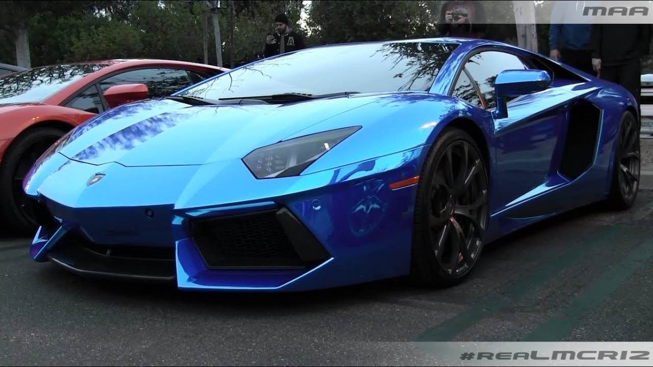 Lamborghini aventador chrome blue