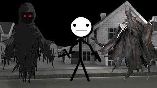 Стикмен пытается сбежать из дома с призраками