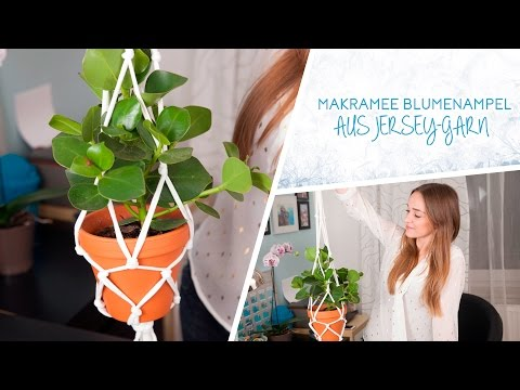 Makramee-Blumenampel aus Jersey-Garn