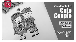 Cute Couple | Zendoodle Art | Easy & Fun to Learn | Draw With Me l Patterns & designs