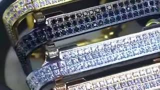 40mm 44mm apple watch series diamond case bezel cover gold rose gold platinum black platinum