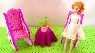 DIY Miniature Rocking chair Cardboard Recycled Dollhouse Furniture & Barbie Crafts