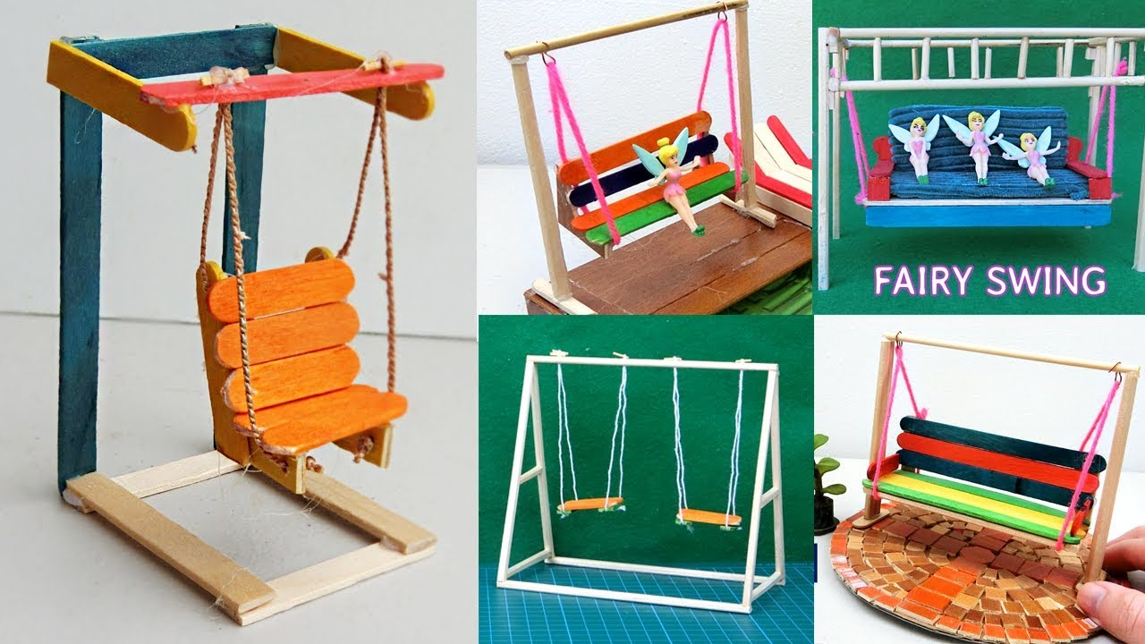 7 easy miniature playground swings popsicle stick crafts for How to make popsicle stick crafts