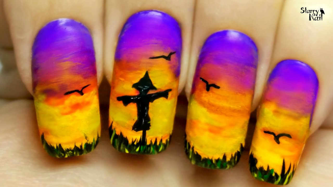 lonely scarecrow freehand nail