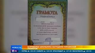 В Приморье школьнику выдали грамоту с символикой Украины