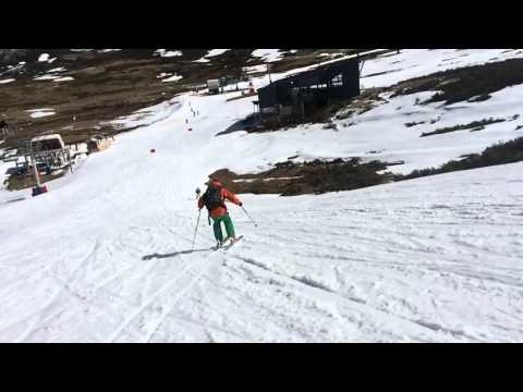 Slow motion carving down Scott's Chair at Falls Creek