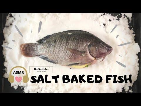 SALT BAKED WHOLE FISH   How To Salt Bake A Whole Fish   Salt Crusted Tilapia ASMR