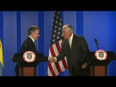 Secretary Tillerson Provides Press Statement with Colombian President Santos
