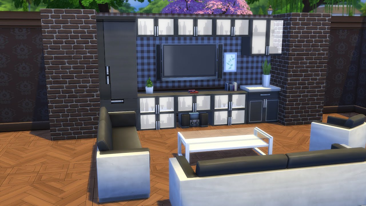 wohnwand gestalten die sims 4 tutorial deutsch german. Black Bedroom Furniture Sets. Home Design Ideas