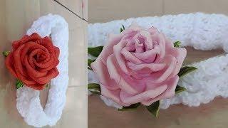 Aprenda Fazer Bandana de Crochê – Com Aplique de Rosa de E.V.A
