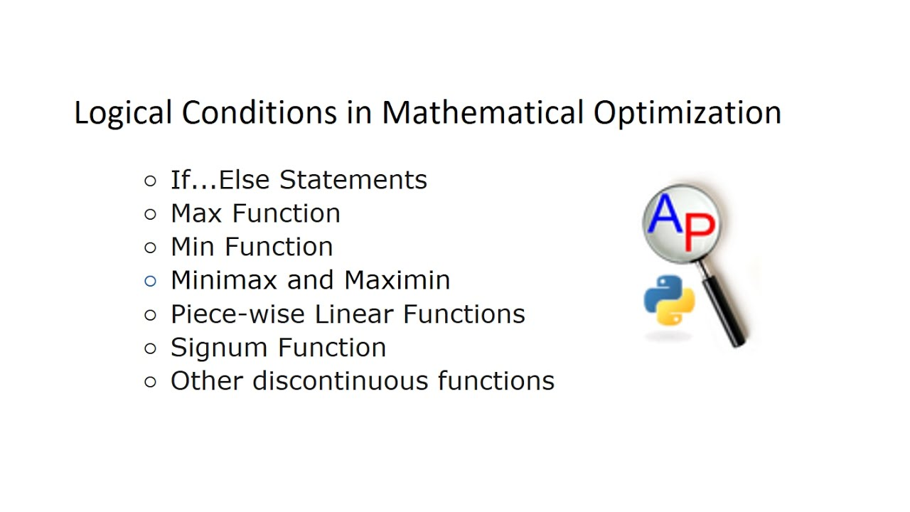 Logical Conditions in Optimization | Design Optimization