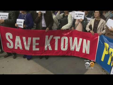 Hundreds Rally Over Proposed Homeless Shelter In Koreatown