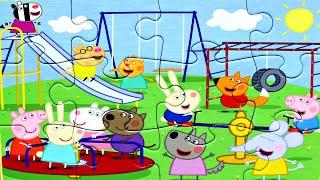 Свинка Пеппа и все её друзья на Детской площадке собираем пазлы для детей свинка пеппа Peppa Pig