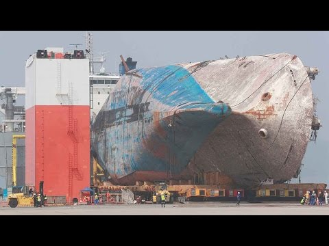 South Korea starts transporting sunken Sewol ferry on land