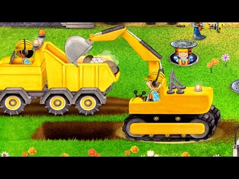 เกมส์ รถตักดิน ตั้มดิน เกรดดิน ทำถนน ขุดอุโมงรถไฟ รถยก - วีดีโอสำหรับเด็ก - Tiny Builders
