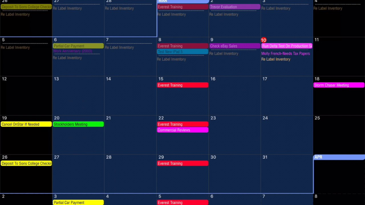Pocket informant calendar & tasks – ipad notebook.