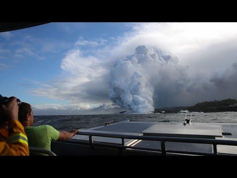 Toxic Cloud From HI Volcano Lava Seen Over Ocean