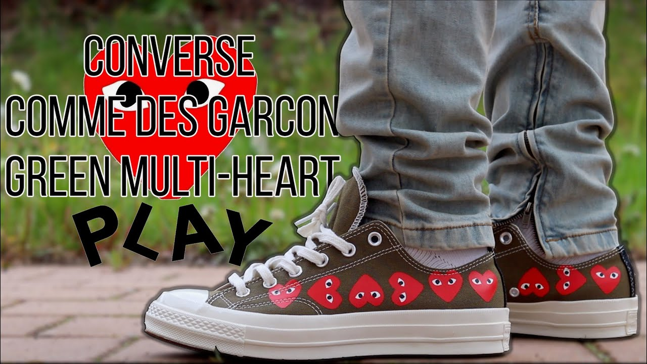 CONVERSE x COMME DES GARCON GREEN MULTI HEART LOW REVIEW & ON FEET!