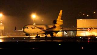 Best MD-11 sound ever! Awesome MD-11F Sky Lease Cargo Take-off at ELLX  Problems during Start-Up