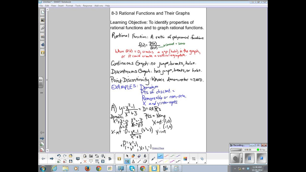 Algebra 2 Chapter 8 3 Rational Functions And Their Graphs