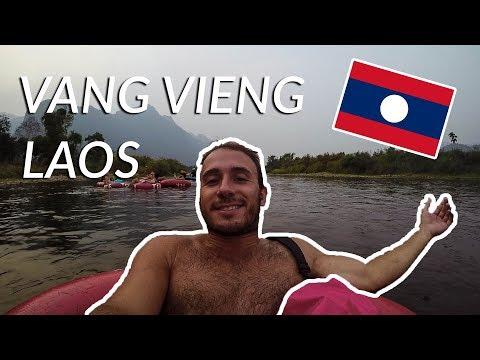 Going TUBING down a beautiful RIVER in VANG VIENG | Laos Travel Vlog