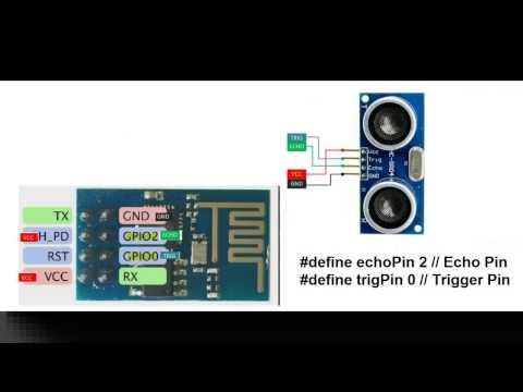 ESP8266-01 hc04 ultrasonic distance sensor with code with javascript+ webserver
