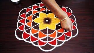 Simple rangoli designs with big dots / கலர் கோலம் 9x5 dots easy kolam designs / nice muggulu