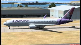 FSX Hawaiian airlines flight 15 takeoff. Boeing 767 with winglets