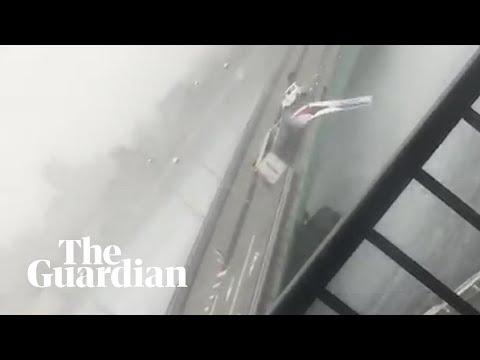 Typhoon winds overturn truck on bridge in Japan