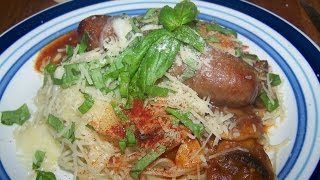 Italian Suasage, Mushroom, Garlic, Red Wine, Vinger, Sauce, Angel, Hair, Pasta, 2/2