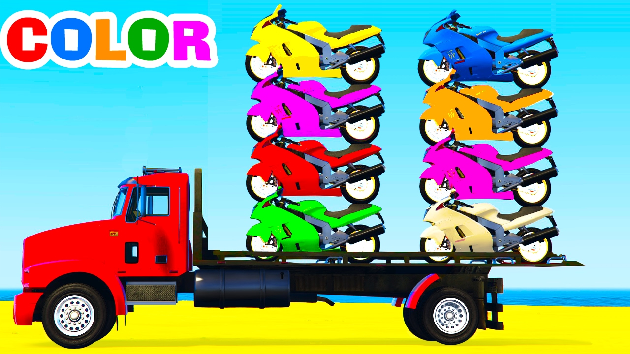 Learn Colors Learn Numbers W Motorbike On Truck Cars Cartoon For Kids Learning Video