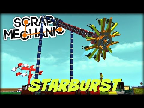 Scrap Mechanic Theme Park- EP 116- Starburst Ride, Batting Cages, and More! (World Download)