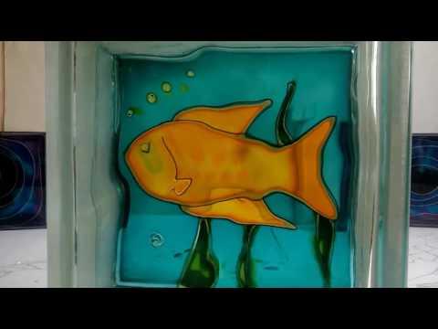 Decorated glass block - fish #3