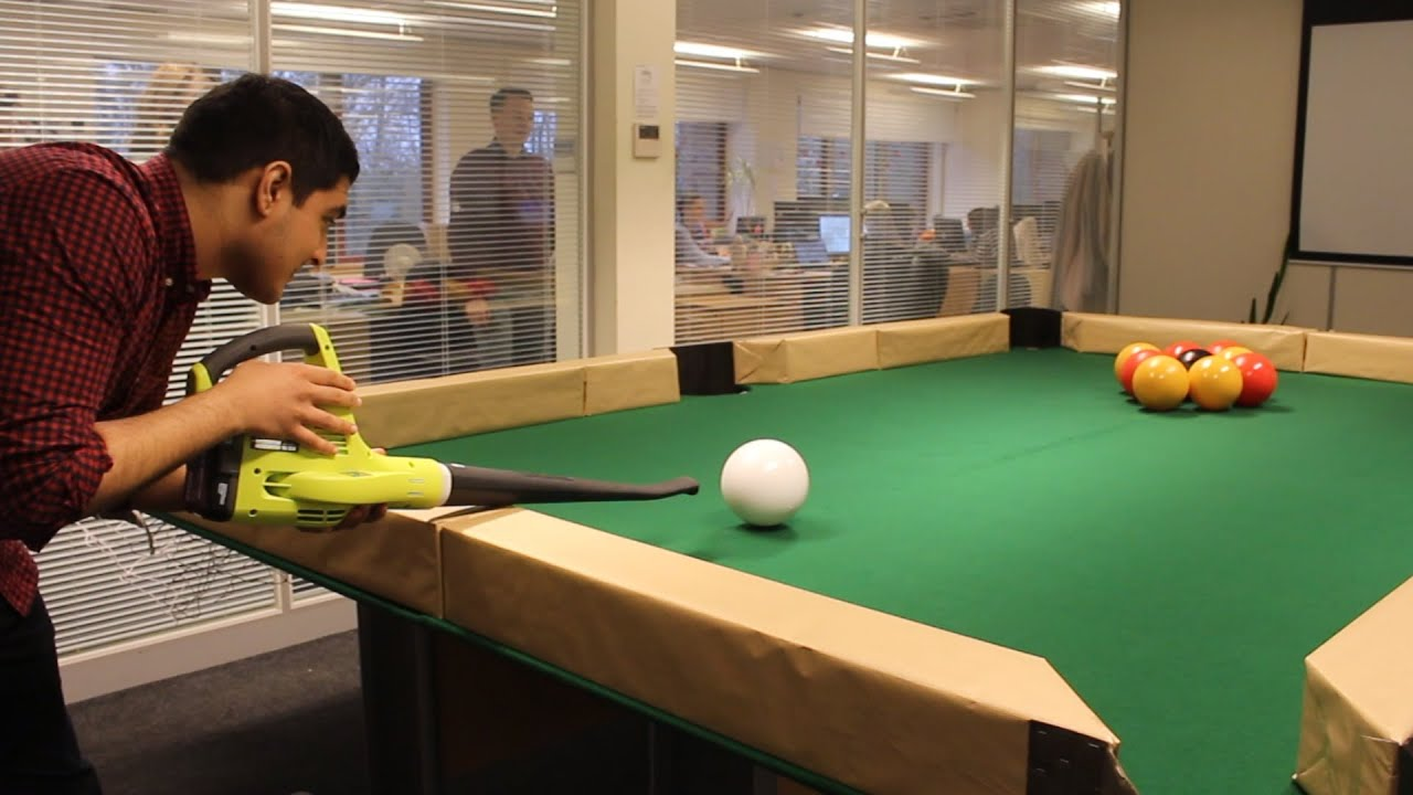 Leaf Blower Billiards In The Office Boardroom YouTube - Pool table help