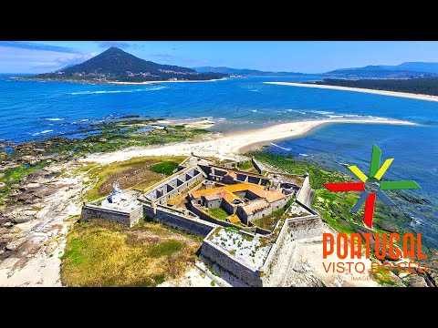 Insua Fort and Moledo Beach aerial view - Caminha - 4K Ultra HD