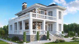Проект дома в классическом стиле из кирпича. Дом с эркером, терраса и балкон. Ремстройсервис KR-175