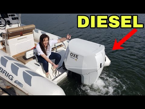 New Diesel Outboard Water Demo Oxe Diesel K 150 HP on Brig Navigator 730 Palm Beach Boat Show
