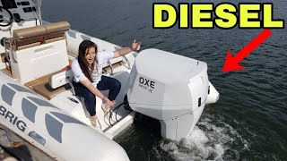 New Diesel Outboard Water Demo Oxe Diesel K 150 HP on Brig Navigator 730 Palm Beach Boat Show