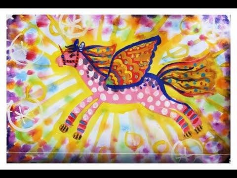 Как нарисовать пегаса гуашью. Поэтапное рисование. Видео уроки рисования для детей 5, 6, 7, 8 лет.