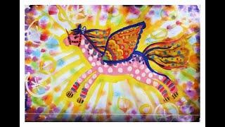 Как нарисовать пегаса гуашью. Видео уроки рисования для детей 5-8 лет.(Как нарисовать пегаса гуашью? Легко! Смотрите пошаговую инструкцию на канале
