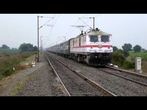 Milky white WAP7 with 22456 Kalka Sainagar shirdi express thunders tracks at decent speed