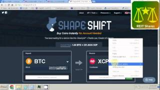 How To buy REITSHARES Using Coinbase ShapeShift & CounterParty 1