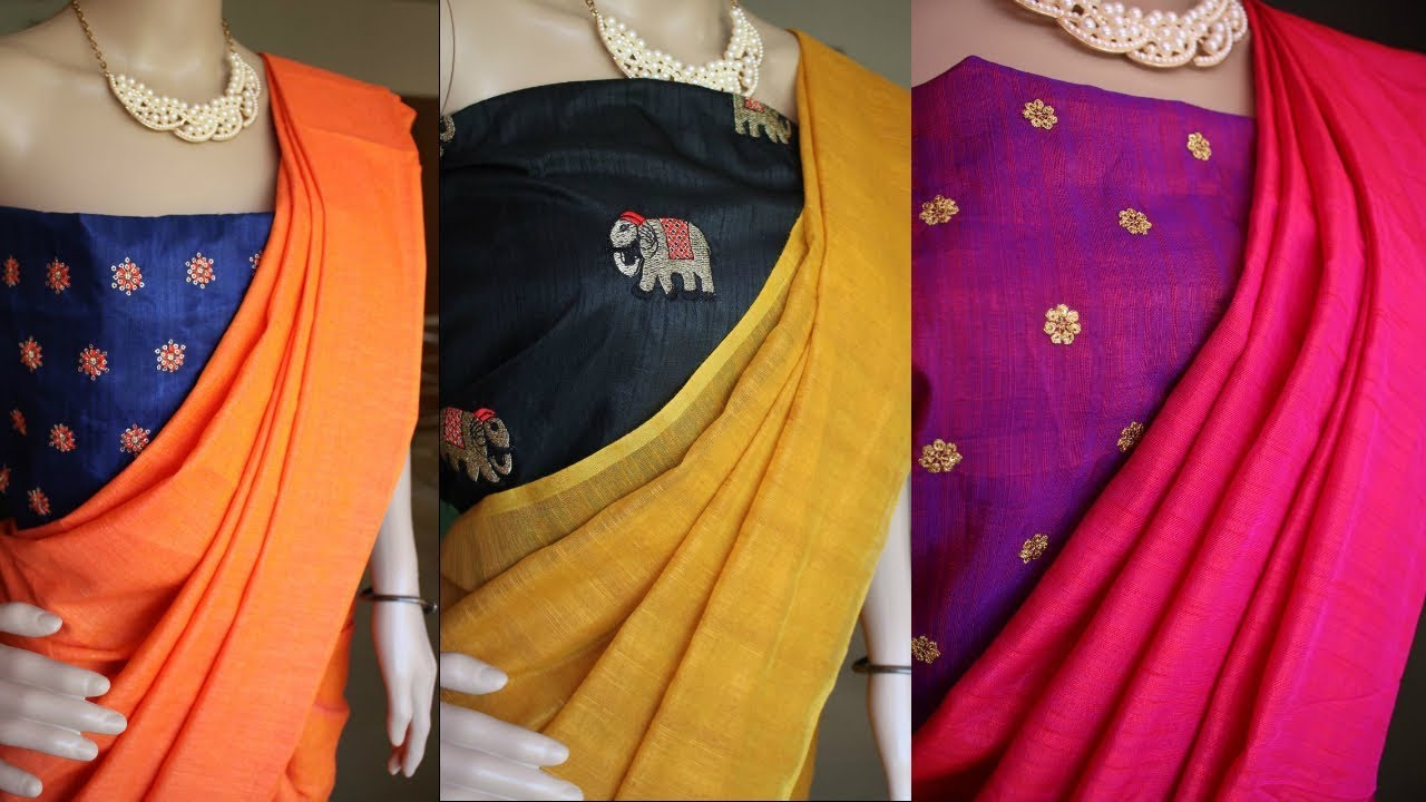 2ccb3cbbfc4e9 Plain Jute Silk Sarees with Contrast Work Blouse(Price Included ...