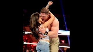 John Cena and AJ Lee kiss after Cena's victory over Dolph Ziggler Raw, Nov  26, 2012