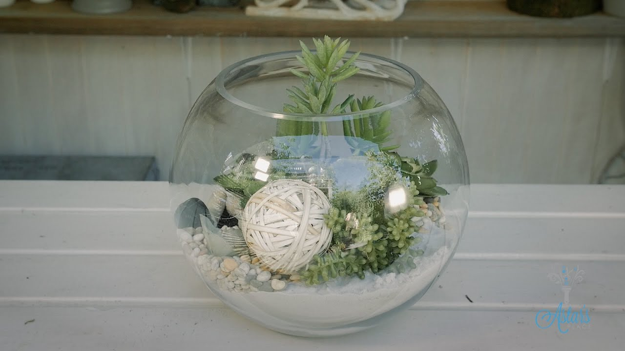 Artificial Succulent Terrarium Floristry Tutorial Youtube