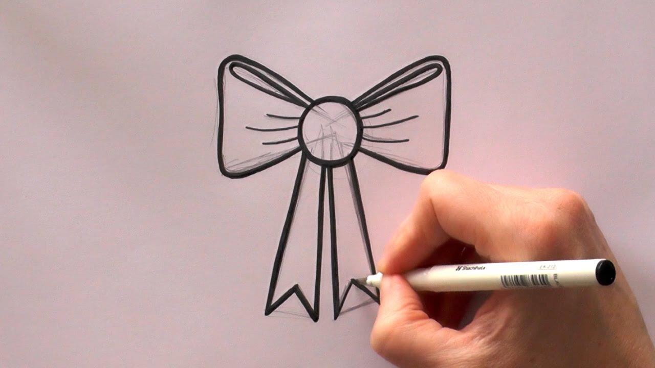 how to draw a cartoon ribbon bow youtube