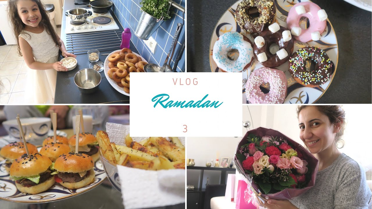 Ramadan Vlog 3    ،؟و شكون جاب لي الورد !! إيناس غادي توجد معايا شهيوات الفطور ، وصفة سهلة للبرغر