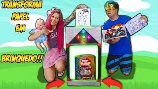 MAQUINA QUE TRANSFORMA DESENHOS DE COLORIR EM BRINQUEDO DE VERDADE ! ( play with Magic Box Toys )